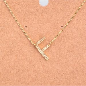 "Jewelry - Brushed Gold Initial Dainty Necklace Letter ""F"""